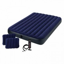 Intex Queen Classic Downy Airbed Set with 2 Pillows and A Hand Pump 203cm x 152cm x 22cm